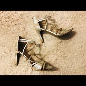 Tahari Bella Silver Strappy Stiletto Heels
